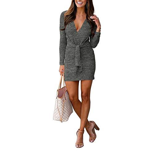 Waist Neck Tie Grey Abito Mini Lunga Solid Camicia V Lace Femminil Bodycon Up Manica Deep dwwHI