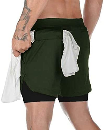 NEWITIN 2 Pack Mens 2 in 1 Running Shorts Quick Drying Breathable Workout Shorts with Towel Loop for Men