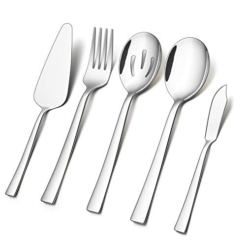 5-Piece Serving Utensils, E-far Stainless Steel Square Edge Hostess Serving Set for Buffet Party Kitchen Restaurant, Mirror Finished & Dishwasher Safe (Serving Wear)