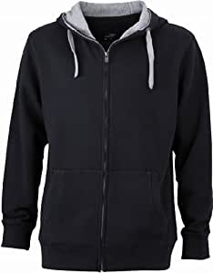 James & Nicholson Men's Jn963 Lifestyle Full Zip Hoody Sweat Jacket Medium Black/Grey Heather