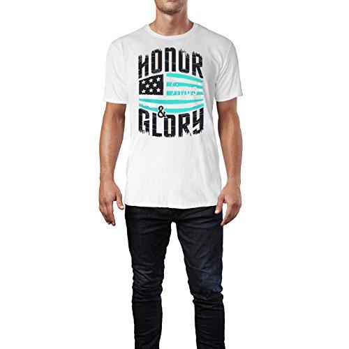 SINUS ART ® Vintage US Flagge mit Typographie Herren T-Shirts in Weiss Fun Shirt mit tollen Aufdruck