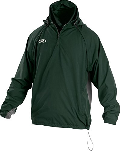 Rawlings Sporting Goods Mens Adult Jacket W Removable Sleeves & Hood, Dark Green, x Large by Rawlings