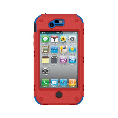 Trident Build Your Own KRAKEN A.M.S. Case for iPhone 4/4S - Retail Packaging - Red/Blue