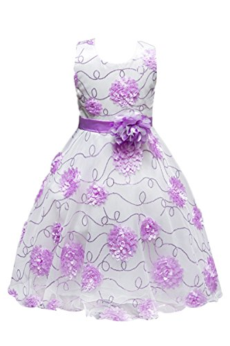 YMING 3 Layers Girls Dress Sunflower Wave Pageant Bridesmaid Purple 5-6 Years