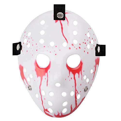 Jason Full Face Head PVC Hockey Mask Novelty Costume Party Horror Prop Halloween Festival Mask (White with Tears of Blood) (White Jason Mask)