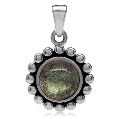 Natural Labradorite White Gold Plated 925 Sterling, used for sale  Delivered anywhere in USA