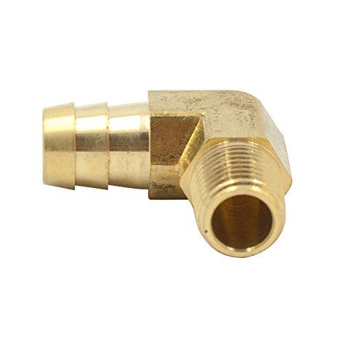 Legines Brass Hose Barb Fitting, 90 Degree Male Elbow, 3/8