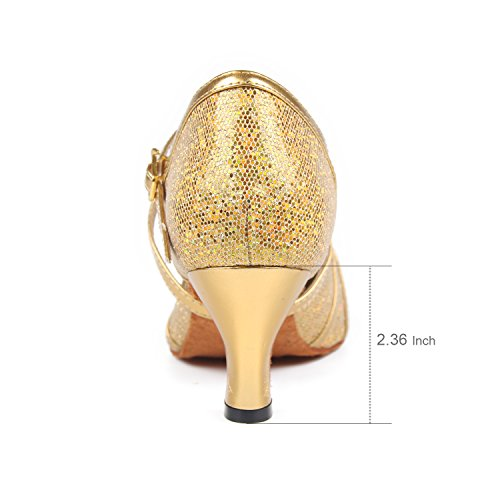 Ballo Scarpe Standard Syrads Feste Scarpe da Ballo Donna Sociali Latino Salsa per da 6cm Oro Tango xCgRv