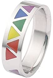Rainbow Smooth Triangles Ring - Gay & Lesbian Pride Stainless Steel Ring w/ Enamel Rainbow