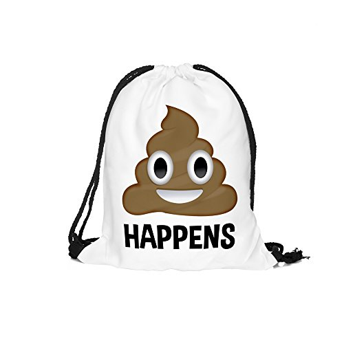 3d Print Drawstring Backpack Emoji Funny Shoulder Bags Gym Bags for Kids 15″x11″ (emoji 2) For Sale