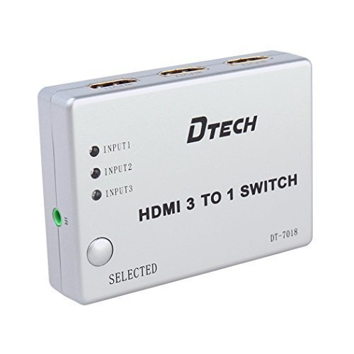 DTECH 3 Port HDMI Switch Hub Box with IR Wireless Remote Supports 1080P 3D 3 In 1 Out for 3 Devices Share 1 Monitor