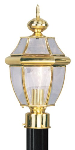 (Outdoor Post 1 Light With Clear Beveled Solid Polished Brass 8.5 in 100 W - World of Crystal)