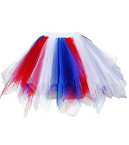 Dresstore Women's Short Vintage Petticoat Skirt Ballet Bubble Tutu Multi-colored z-Blue-Red-White S/M