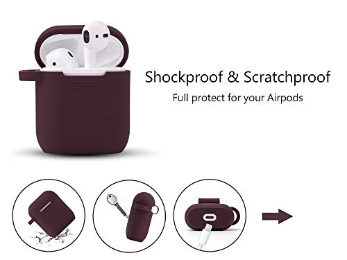 Airpods Case - Filoto Airpods Silicone Case Cover with Fur Ball Keychain/Strap for Apple Airpod (Burgundy)