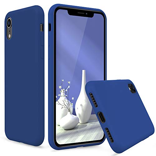PENJOY Silicone Case for Apple iPhone XR 6.1 inch (2018 New), Full Body Protection Silicon Cases Support Wireless Charging Precise Cutouts Slim Rubber Cover (Cobalt Blue)