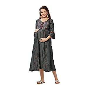 Easy Feed Maternity Maxi Dress Cotton With Invisible Zip