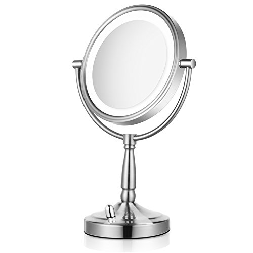 Lighted Makeup Mirror - 8'' LED Vanity Mirror 7x Magnification Double Sided Mirror Battery Operated Nickel Finish ALHAKIN