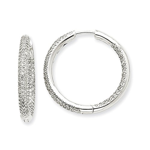 Heart Diamond Gold Circle Earrings (ICE CARATS 14kt White Gold 1 1/2ctw Circle Hoop Diamond Earrings Ear Hoops Set Fine Jewelry Ideal Gifts For Women Gift Set From Heart)