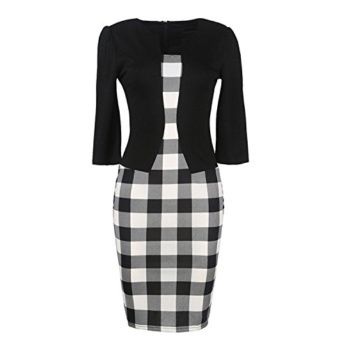 Toping Fine Womens Elegant Three Quarter Sleeve Cotton Blends Patchwork with Sashes Pencil Office Dress Suits BlackLarge by Toping Fine wool-outerwear-coats (Image #3)