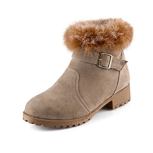 Ladola Womens Square Heels Fur Collar Buckle Back Zipper Beige Frosted Boots - 10 B(M) US ()