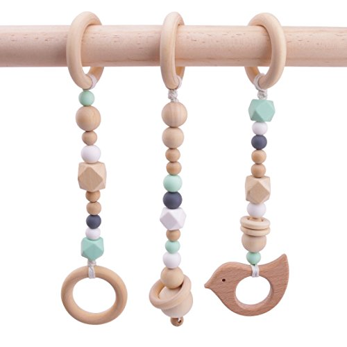 3pcs Baby Play Gym Toys Wood Ring Baby Wood Beads Chewable Rattle Silicone Teehing Baby Shower Gift Wooden Teether (Baby Wooden Gym)