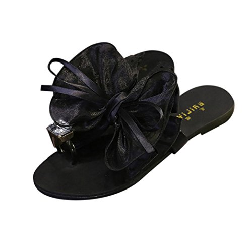 WINWINTOM Women's Ankle Strap Sandals Flower Bow Flat Heel Toe Sandals Slipper Beach Shoes Casual Shoes Party Wedding Sandals Shoes Open Peep Toe Shoes for Girls Black CoAuYiew1
