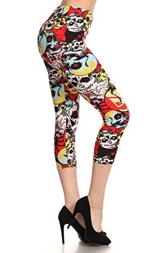 iZZYZX Women's Popular Print Cropped Capri Leggings - Small To 4XL (S/M/L (Women 2-10), Red Eye Skulls)