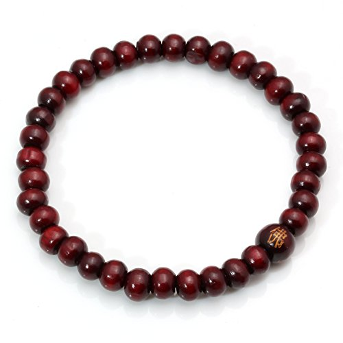 MILAKOO 5mm Wood Beaded Bracelet for Men Women Buddha Bracelet Elastic