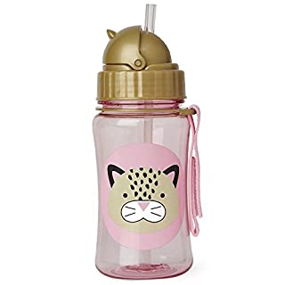 Skip Hop Toddler Sippy Cup Transition Bottle: Dishwasher-Safe Water Bottle with Flip Top Lid, Leopard