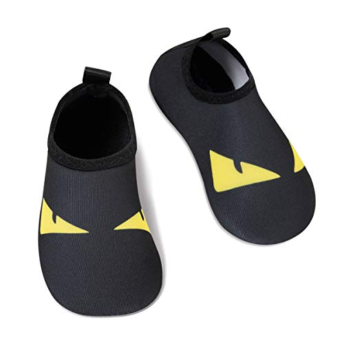Kids Water Swim Shoes Barefoot Aqua Socks Shoes Quick Dry Non-Slip Baby Boys & Girls (Triangle-Black, 34/35) (Baby Swim Shoes Size 2)