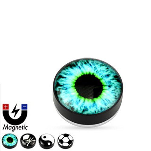 Freedom Fashion Logo Epoxy Dome Top Black Acrylic Glow in The Dark Fake Magnetic Plug (Sold by Pair)