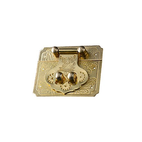Lock Antique Furniture - RZDEAL Antique Brass Buckle Lock Latch Furniture Accessory Decorative Decor Wood Case Jewelry Box(DIY,2.4'' x 2.0'')