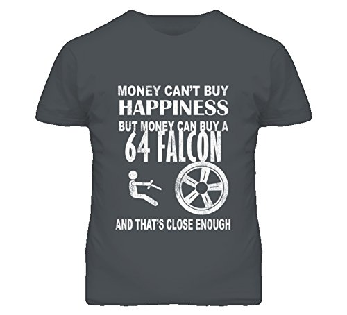 (Money Cant Buy Happiness 1964 Ford Falcon Dark Distressed T Shirt 2XL Charcoal Grey )