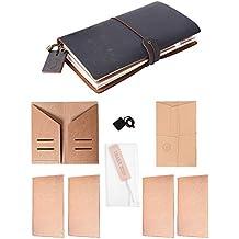 Travelers Notebook Black Leather Refillable Vintage Bullet Journal 4 Paper Inserts
