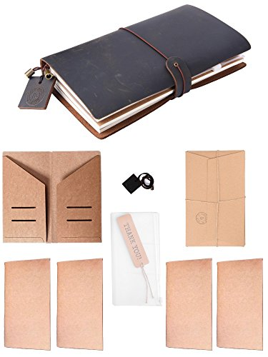 Travelers Notebook Black Leather Refillable Vintage Bullet Journal 4 Paper Inserts