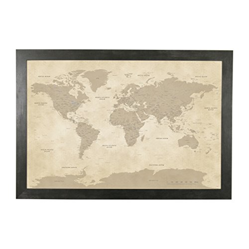 Push Pin Travel Maps Vintage World with Rustic Black Frame and Pins 24 x 36 ()