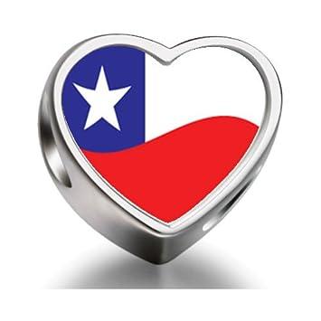 cf244f19ea87 Chile Flag Heart Photo charm beads fit pandora bracelets