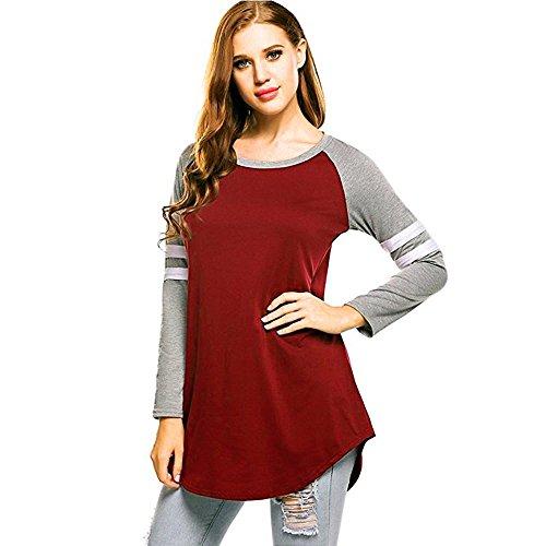 Goddessvan Plus Size Tops, Women Autumn Long Sleeve T-Shirt Sweatshirts Patchwork Blouse Tops
