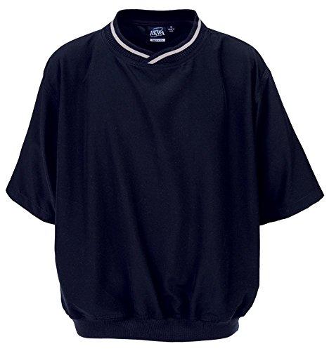 Akwa Made in USA Men's Microfiber Water Repellent Short Sleeve Pullover Windshirt Navy - Pullover Windbreaker Navy