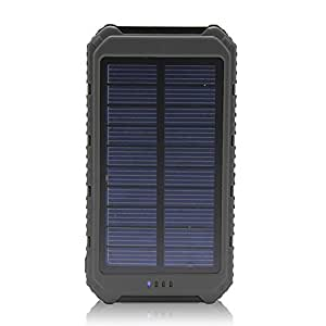 Solar Charger Battery Matone Portable 10000mAh Solar Battery Charger Rain-Resistant Shockproof, Dual USB output Solar Powered Phone Charger for iPhone, iPod, iPad, Samsung, HTC, GPS Camera