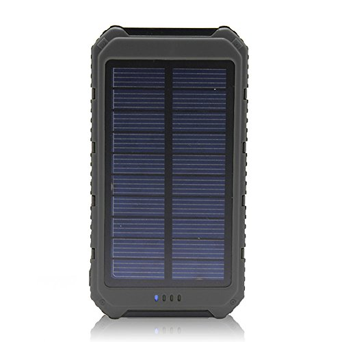 Solar Charger Battery Matone Portable 10000mAh Solar Battery Charger Rain-Resistant Shockproof, Dual USB output Solar Powered Phone Charger for iPhone, iPod, iPad, Samsung, HTC, GPS Camera (Black)