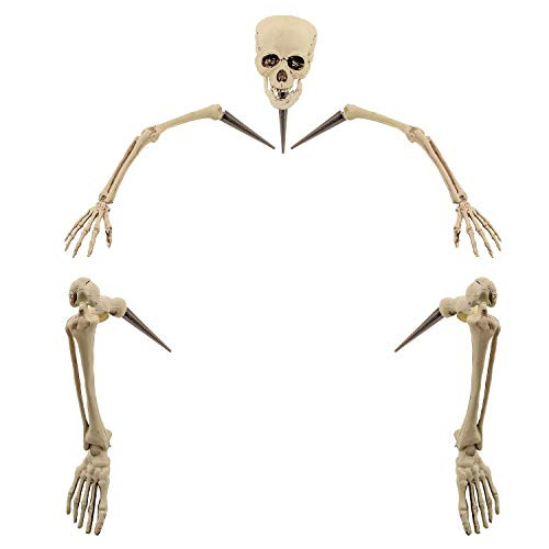 Halloween Haunters Life Size Realistic Groundbreaker Skeleton Bones Prop Decoration - Scary Plastic Body Parts Skull, Hands, Feet, Arms, Legs with Lawn Stakes - Graveyard Tombstone Haunted -