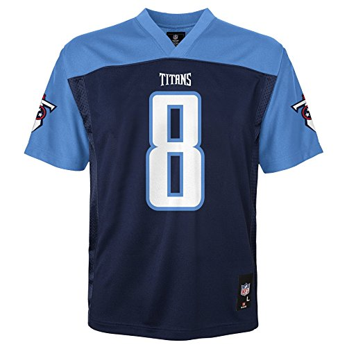 NFL Youth Boys 8-20 Marcus Mariota Tennessee Titans Boys -Player Name Jersey, Dark Navy, L(14-16)