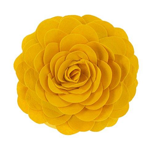 Flower Garden Decorative Throw Pillow with Insert - 13 inch Round (Gold, 13