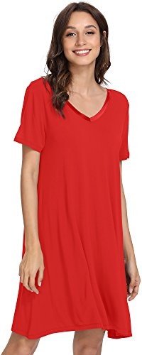 GYS Women's Short Sleeve Nightshirt V Neck Bamboo Nightgown, XX Large, Red (Ladies Nightshirt Red)