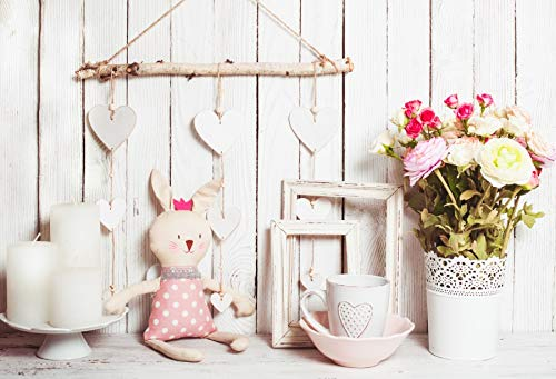 Leyiyi Valentine's Day Backdrop 9x6ft Photography Backdrop Romantic Soft Color Blossoming Rose Cute Rabbit Doll Candle Empty Photo Frame White Love Heart Decoration Room Ornament Photo Booth Prop]()