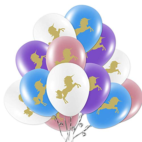 "Unicorn Balloons Decorations, 36 Unicorn Party Supplies, 12"" Colors Light Pink/White/Purple/Baby Blue with Gold Unicorn for Girls/Women/Kids/Birthday Party/Baby Shower/Party Favors"