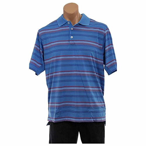 adidas Golf Men's Climacool Merchandising Stripe Polo Shirt, Oasis/Blueberry, Large