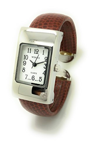 (Ladies Small Rectangle Snakeskin Leather Bangle Cuff Watch White Dial Wincci (Brown))