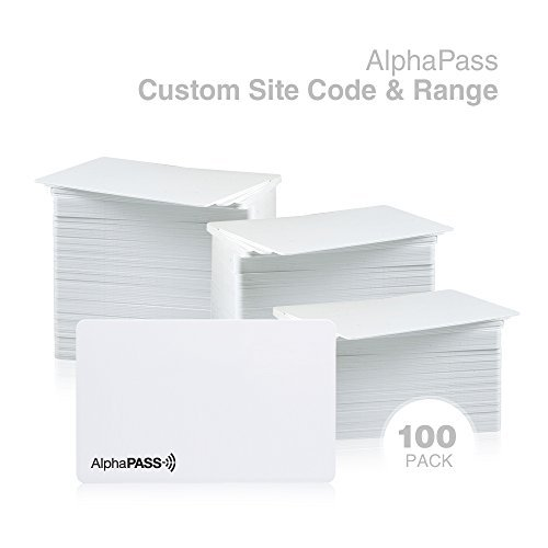 Same Day Custom Programmed AlphaPass PVC Proximity Card for Access Control. Replaces HID 1386 ISOProx II Cards. Standard 26 bit H10301 Format. Choose Your Facility Code & Range (100 Pack)
